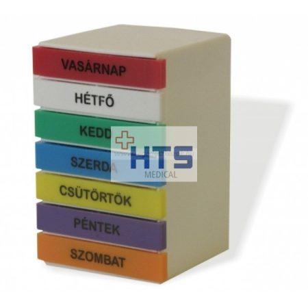 Gyógyszeradagoló torony, heti, színes, téglatest